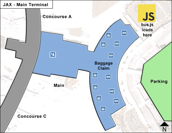 Map of Jacksonville Airport and the bus loading zone